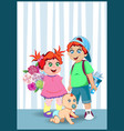 cartoon cute little kids with flowers and vector image vector image