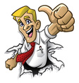 cartoon man thumb up vector image vector image