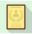 Certificate of the best employee icon flat style vector image