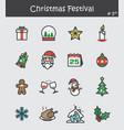 christmas festival icon set 5 flat colour design vector image vector image