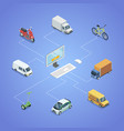 city transport logistics isometric infographics vector image