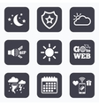 Cloud and sun icon Storm symbol Moon and stars vector image vector image