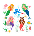 cute cartoon mermaids and sea animal set vector image