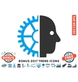 Cyborg Head Flat Icon With 2017 Bonus Trend vector image vector image