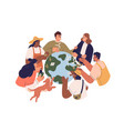 eco-friendly people with earth globe saving vector image