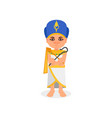 egyptian pharaoh standing with rod and whip in vector image vector image