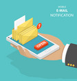 email notification flat isometric concept vector image vector image