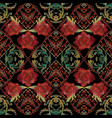 embroidery roses seamless pattern baroque vector image