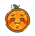 emoji - orange in love with happy smile isolated vector image vector image
