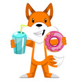 fox with donut on white background vector image vector image