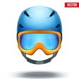 Front view of Classic blue Ski helmet and orange vector image
