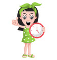 girl with clock on white background vector image