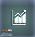 Growing bar chart icon On the blue-green abstract vector image