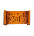 halloween night - text on scroll greeting ribbon vector image