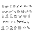 hand drawn doodles of object in kitchen vector image