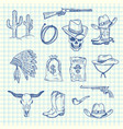 hand drawn wild west cowboy set vector image vector image
