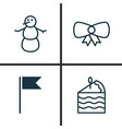 holiday icons set collection of winter cake vector image vector image