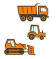 industrial transport set dozer tractor dumper vector image