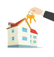 keys to new house on real estate agent hand near vector image