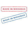made in michigan textile stamps vector image vector image