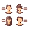 Male and female call center avatars vector image vector image
