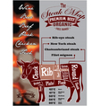 menu template with a cow and steak card vector image vector image