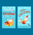 merry christmas santa claus diving lifebuoy vector image vector image