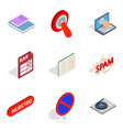 modern phone icons set isometric style vector image vector image