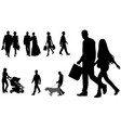 people walking silhouettes collection vector image vector image