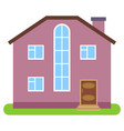 private house with a brown roof and pink walls vector image vector image