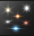 Realistic colorful bright lens flares beams and