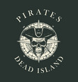 retro pirate banner with skull bones and compass vector image