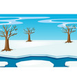 scene with snow on the field vector image