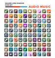 set audio music icons in flat design with long vector image vector image