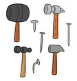 set hammer and nails vector image