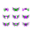 set of love heart wing freedom logo vector image