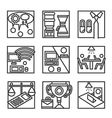 Simple line icons for co-working vector image