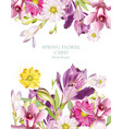 Spring flowers bouquet vertical card background