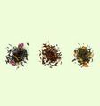 tea heaps top view assortment dry leaves set vector image