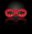 theater red mask with reflection on black vector image vector image