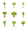 Trees of different shapes icons set cartoon style vector image vector image