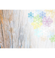 wooden plank background with colorful snowflake vector image vector image