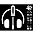 Headphones Tuning Screwdriver Icon with vector image