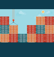 containers with crain vector image