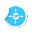 arrows AND globe BLUE LABEL vector image vector image