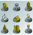 camp color isometric icons vector image vector image