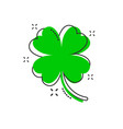 cartoon four leaf clover icon in comic style vector image