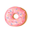 cartoon pink donut hand drawn vector image vector image