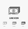 cash dollar finance funds money icon in thin vector image