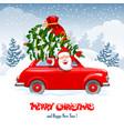 christmas character santa in car vector image vector image